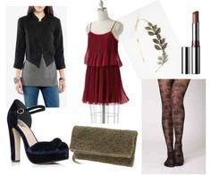 Red dress, black jacket, patterned tights, gold headband, black heels, nude lip
