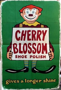 Cherry Blossom Shoe Polish Clown, 1950s - original vintage poster by Rees listed on AntikBar.co.uk