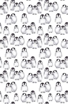 Little baby penguins, seamless pattern. JeannaD watercolor illustration - Bed and Bedcover Penguin Watercolor, Penguin Drawing, Penguin Tattoo, Penguin Art, Penguin Love, Cute Penguins, Watercolor Wallpaper Iphone, Baby Wallpaper, Kawaii Wallpaper