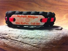 Multiple Allergies use EpiPen Medical Alert paracord by EMSALERTS, $13.00  Really like this.