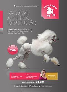 Anúncio Petit Bichon on Behance Pet Shop, Hotel Pet, Pet Branding, Animal Design, Flyer Design, Advertising, Pet Pet, Holiday Decor, Creative
