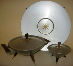 6 Piece Mirro Medallion Space Age Mid Century Modern Serving Set ExCond