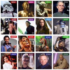 Star Wars MBTI type table (I didn't pick any character just for the sake of having them on there - I tried to pick characters that epitomized each type, & I tried not to include any characters that I wasn't certain of their type. Took me forever to find an ESFJ...)