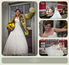 I think the pictures could be better, but I love the idea of the firefieghter jacket over the wedding dress.