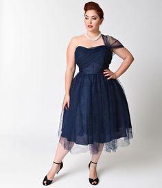Preorder -  Unique Vintage Plus Size Navy Charisse One Shoulder Mesh Lace Dress