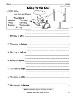 This language arts worksheet pairs before and after with the days of the week. And it's football themed! A great combo! Language Arts Worksheets, Days Of Week, Prepositions, Tot School, Grade 1, Mailbox, Homework, Grammar, Names