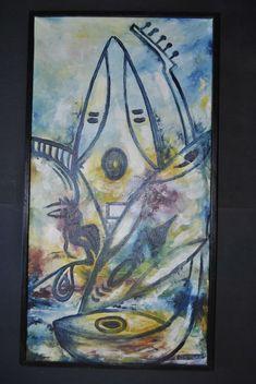 Baitonge Abstrakte Komposition signiert Ölgemälde auf Leinwand gerahmt