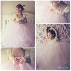 Flower Girl Dress Lace and Tulle Tutu Crochet Bodice Satin Sash Vintage Ivory Infant to Toddler Size 4