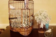 Shabby chic  vintage bird cage decor idea {Maria Glassford Photography}