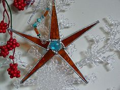 Beautiful Stained Glass Star Amber by miloglass on Etsy, $16.00