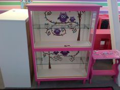 wimsical painting furniture | BOOKSHELF/DISPLAY CABINET HAND PAINTED OWL DESIGN 2 GLASS SHELVES KIDS