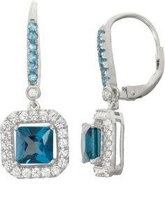 Fine Jewelry Lab-Created Aquamarine Sterling Silver Earrings L7MzQ