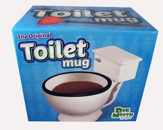 THE ORIGINAL TOILET MUG...... Why should dogs be the only ones allowed to drink out of the toilet? This silly toilet-shaped mug holds up to 12 -ounces of your favorite hot beverage and will make your co-workers do a double take. The Toilet Mug makes a great gag gift for any coffee or tea lover and will gross out anyone who has a weak stomach. theonestopfunshop.com