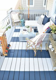 DIY Painted Deck and Decor Easily paint your backyard deck and add a painted rug for a unique look. My favorite deck paint and tips for your patio decor. Outdoor Rooms, Outdoor Living, Outdoor Decor, Outdoor Kitchens, Outdoor Cooking, Nautical Decor Outdoor, Nautical Deck Ideas, Outdoor Ideas, Outdoor Patios