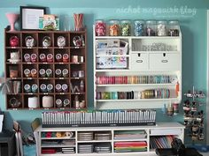 Craft organization genius!  I have many of the same Pottery Barn pieces as this person.  I recommend following the original link to check out the whole craft room.  I might borrow some ideas for my own...