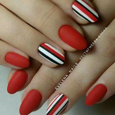 Ready to upgrade your go-to red nails? You're in the right place because we're sharing 50 gorgeous red nail designs for epic nail style. Oval Nails, Matte Nails, Pink Nails, Long Round Nails, Nail Manicure, Nail Polish, Nail Swag, Geometric Nail, Nagel Gel