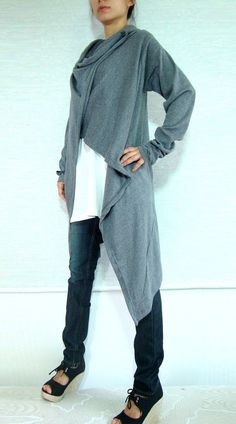 Sweater Cardigan // Cardigan / Women Gray Cardigan by idea2wear, $56.00