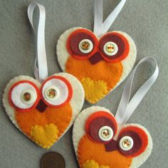 Pin 2. VIBRANT Orange Owl Decorations, by LILYMAY.......... loves felt