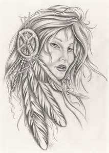 indian lady w dreamcatcher tattoo idea.