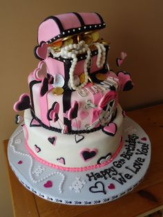 girl pirate decorations   Pirate Chest GIRLS Cake with 3D Chest, Chocolate Coins - by krissy ...