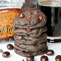 Dark Chocolate Espresso Cookies Soft-baked dark chocolate mocha cookies, filled with chocolate chips and chocolate-covered espresso beans!