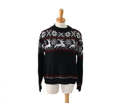 Vintage 70s Nordic Reindeer Ski Sweater // Red Black White // Women Large // Ugly Christmas Party by bluebutterflyvintage on Etsy
