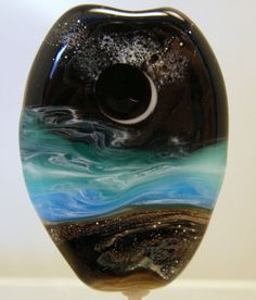 WSTGA~STARLIT SKIES AT MIAMI BEACH~SEA handmade lampwork focal glass bead SRA By Molly Cooley