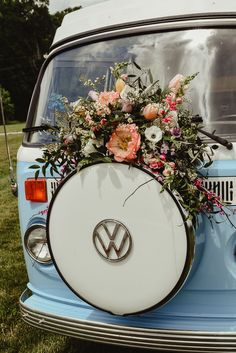 floral accented photo booth bus