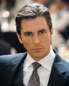 Batman Dark Knight Costumes and Wardrobe, Christain Bale With A Medium Business Man Hairstyle, Blue Suit