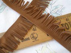 "Boho faux suede brown fringe 1"" wide craft costume medium brown fringe by kabooco on Etsy"