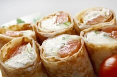 Creative Crepe Recipe: Smoked Salmon & Cream Cheese Burritos...This recipe is an unexpected crossover meal that combines the beloved sushi roll, burrito wrap, savory crepe and bagel with lox and shmear. Four meals in one