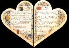 The chansonnier cordiforme, a late 15th Century anthology from Savoy containing works by Dufay, Ockeghem, and others. 'Chansonnier' was originally a term for the songbooks used by troubadours and trouvères in the Middle Ages.