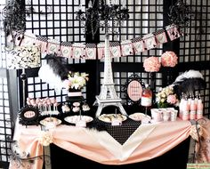 "LOVE LOVE LOVE this party!!!!  ""I Love Paris - Pink and Black Elegant Party Complete Party Set Print At Home."" $29.95, via Etsy."