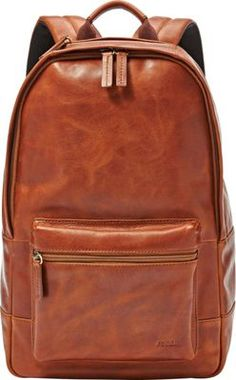Fossil Estate Casual Leather Backpack Cognac - great for day travel and sightseeing