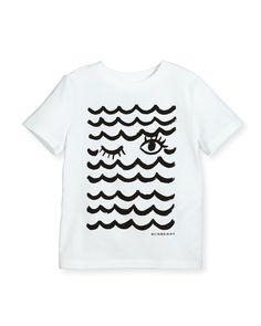 Waves & Lashes Tee, White, 4-14