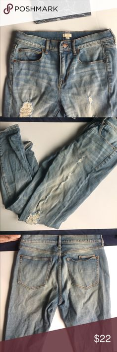 Super Cute J Crew Jeans Size 26 with rips Super cute J Crew pants. The rips are supposed to be part of the Pants. They are a size 26. These pants have been worn a few times, but are still in wicked good condition. They are skinny jeans. The leg length is 24 inches, and the waist is 14 inches. Please ask any questions! J. Crew Jeans Skinny