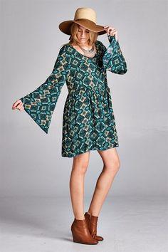 Cutout Back Print Dress - Teal @knittedbelle #knittedbelle