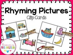 Rhyming Clip Cards 2nd Grade Classroom, Primary Classroom, Kindergarten Classroom, Classroom Ideas, Rhyming Pictures, Color Songs, Phonemic Awareness, Big Picture, Preschool Activities