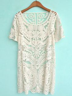 Beige Short Sleeve Embroidery Sheer Lace Dress / Tunic