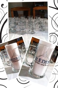 Hand painted beer mugs for a wedding party by Samantha Blair.