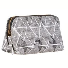 44c023dea3 Makeup bag with grey cream geometric pattern and zip to top.15 x 10