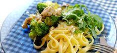 Pasta met kip pesto, courgette en broccoli