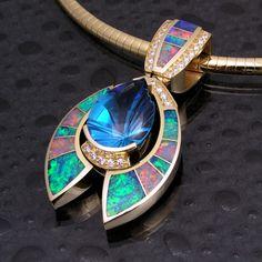 Australian opal inlay pendant with topaz and diamonds  beautiful