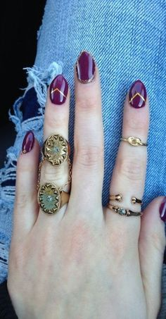 eggplant nails  and rings