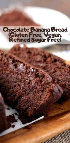 No title A delicious twist on banana bread – rich and chocolatey, but healthier, too – this loaf is gluten free and refined sugar free! Gluten Free Sugar Cookies, Sugar Free Vegan, Sugar Free Desserts, Sugar Free Recipes, Healthy Desserts, Dessert Recipes, Diabetic Sweets, Diet Desserts, Healthy Treats