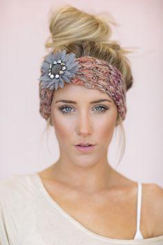 Gray Boho Knitted Headband CUTE Hair Bands Knit by ThreeBirdNest