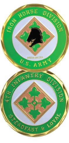 The Army Challenge Coins make great gifts for our Veterans, their families and civilians who want to show their support for our military. Top quality Bronze Alloy measuring 1 in diameter. 4th Infantry Division, Army Infantry, Military Veterans, Military Men, Military Service, Police Challenge Coins, Military Memorabilia, Gifts For Veterans, Veteran T Shirts