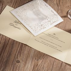 Laser Cut Wedding Invitations Cards White Flowers Invitation Card for Wedding Favors with Envelope with RSVP card Party Supplies