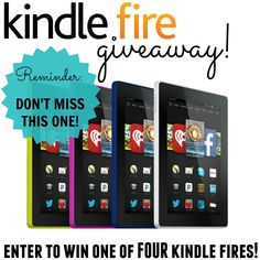 Kindle Giveaway! Enter now to win one of 4 Kindle Fires! 4 lucky winners! www.settingforfour.com