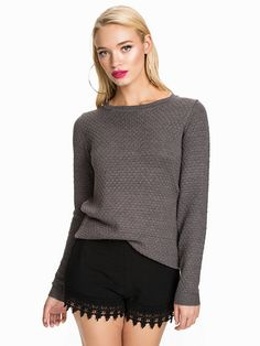 Share Knit Top - Vila - Medium Grey Melange - Gensere - Klær - Kvinne - Nelly.com